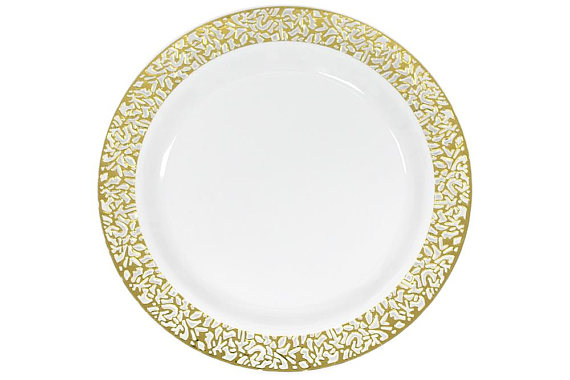 10 Pack Gold Lace Trim Plastic Plates Fancy Damask Classy  sc 1 st  Pinterest & 10 Pack Gold Lace Trim Plastic Plates Fancy Damask Classy | 50th ...