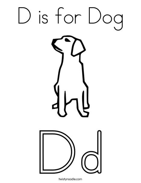 D Is For Dog Coloring Page Twisty Noodle D Is For Dog