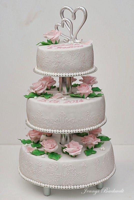 Jennys Backwelt Hochzeitstorte Mit Rosa Rosen Wedding Cakes Idea