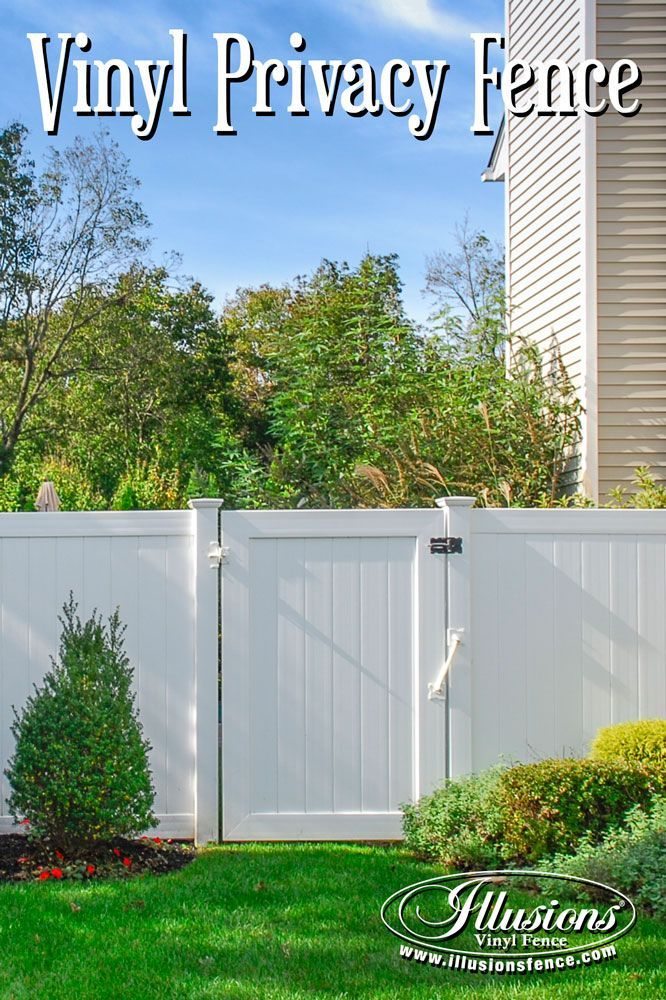 Gorgeous White Pvc Vinyl Matte Finish Fence And Matching Gates From Illusions Vinyl Fence Are Perfect For Your Home De Vinyl Fence Fence Styles Backyard Fences
