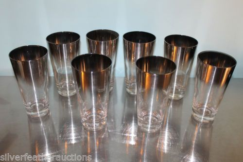8-MCM-Dorothy-Thorpe-era-mirror-silver-rimmed-barware-glass-tumblers-Mad-Men