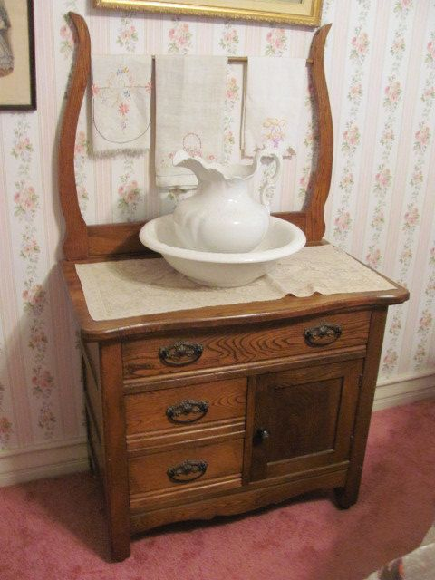Antique Oak Washstand, Aka A Commode. I Took The Back Off (saved It) And  Use It Beside Our Brass Bed For A Nightstand.