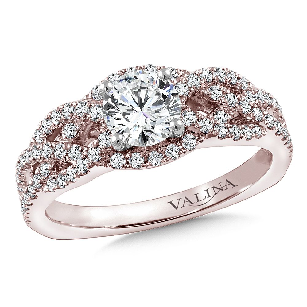Diamond crisscross engagement ring mounting with side s
