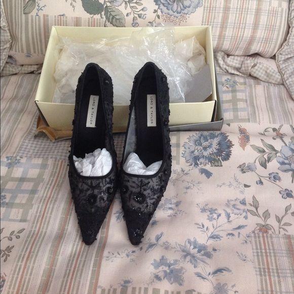 Beautiful dressy black heels  Beaded black pumps, worn once. 3 inch heel. Lord & Taylor Shoes Heels