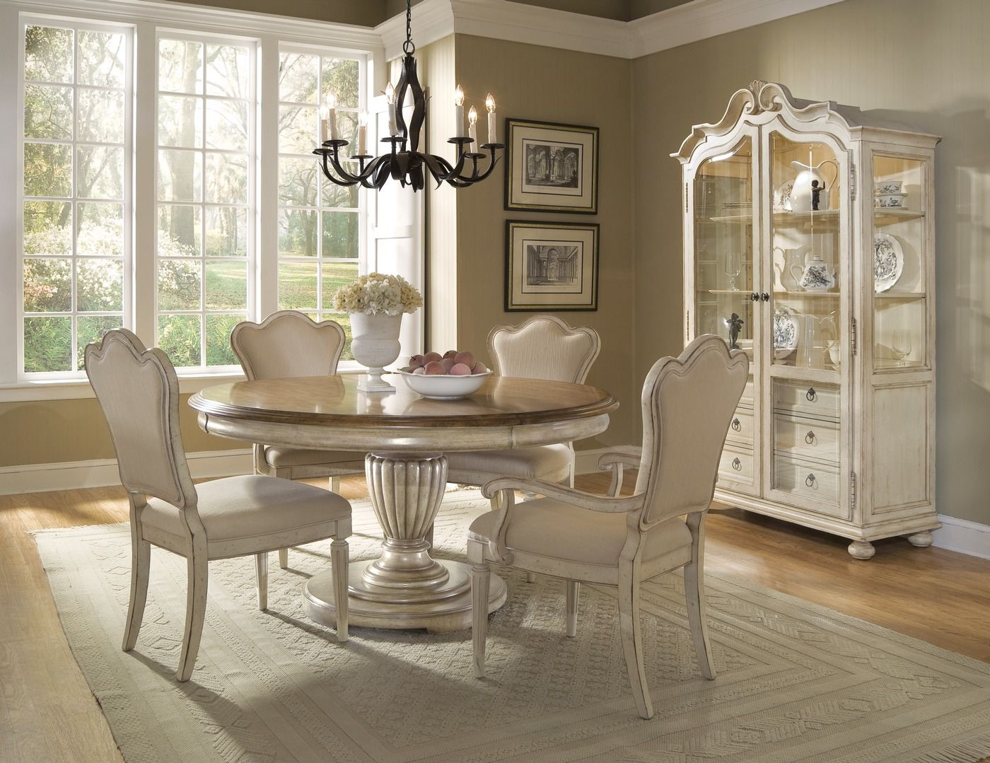 Provenance French Country Whitewash Round Oval Table Chairs