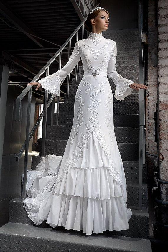 Long Sleeves Wedding Dress Elegant By AutumnSilkBridal