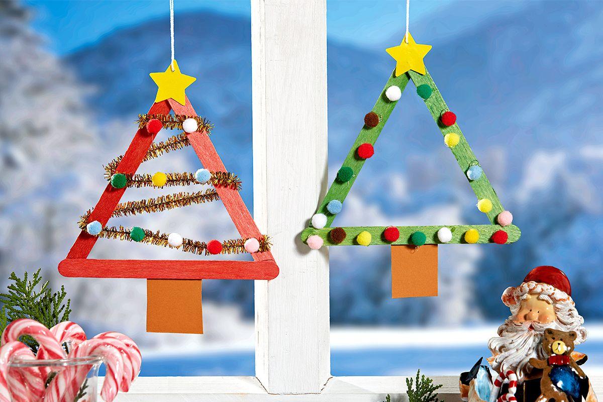 Tannenbaum-Anhänger basteln | familie.de #herbstbastelnmitkindernfensterbilder