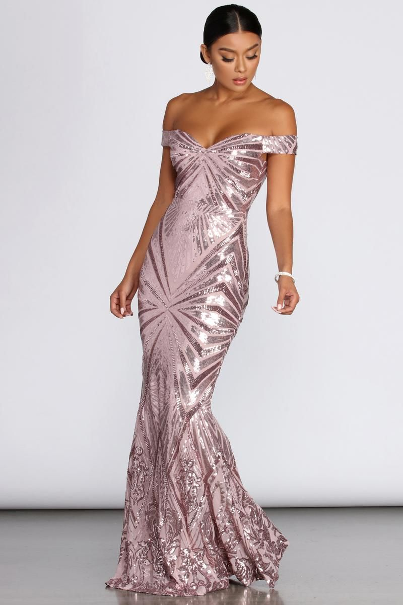 Lilith Off Shoulder Sequin Evening Gown In 2021 Evening Gowns Gold Evening Gowns Gowns [ 1200 x 800 Pixel ]