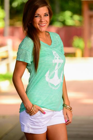 "Anchors and mint are two of the hottest trends in fashion right now and this soft tee delivers both in a flawless combination! Perfect look for a summer day running errands or indulging in a little retail therapy ;) Fits true to size. Miranda is wearing the small. Length from shoulder to hem:S- 25"", M-25.5"", L-26"""