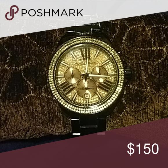 c752512f319d3 Michael Kors womens mk 5879 watch Oversized black with gold dial MICHAEL  Michael Kors Jewelry