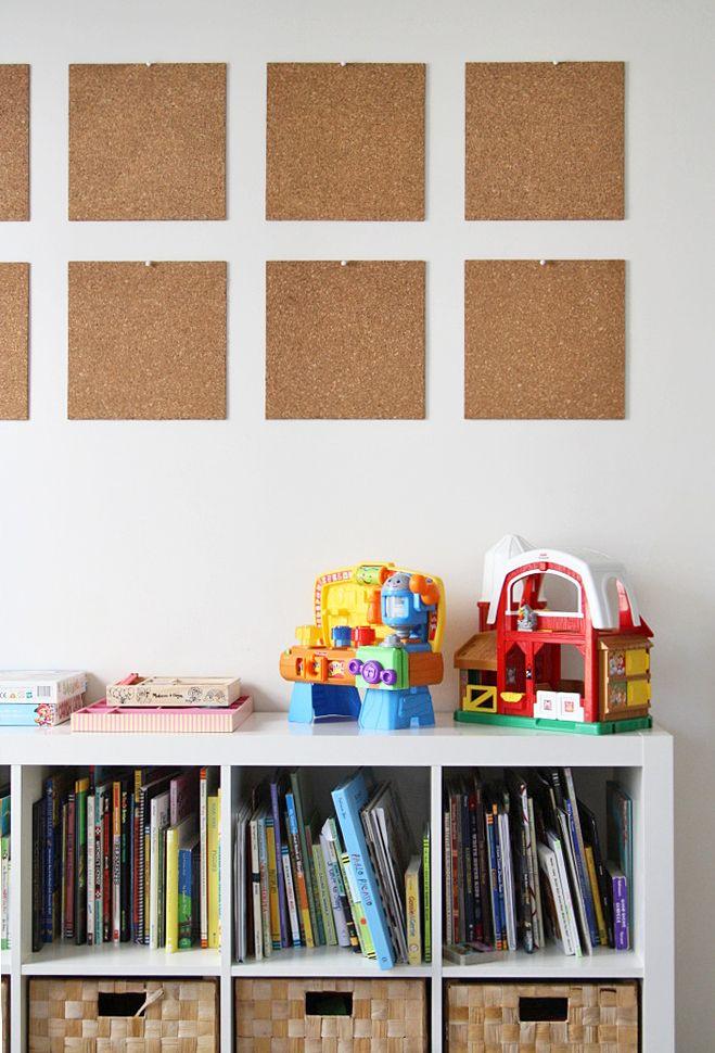 Cork Board Tiles Kid Room Decor Displaying Kids Artwork Art