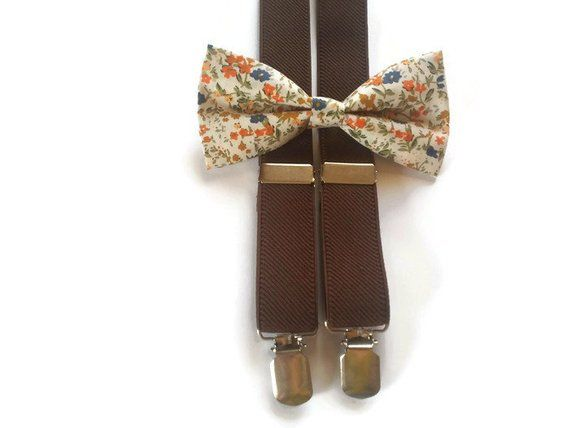 bfbb9483b8eb BROWN suspenders white violet mustard floral bow tie outfit for ring bearer  little boys guys groomsm