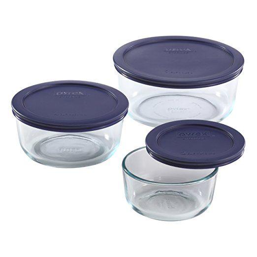Amazoncom Pyrex Simply Store 6 Piece Round Glass Food Storage Set