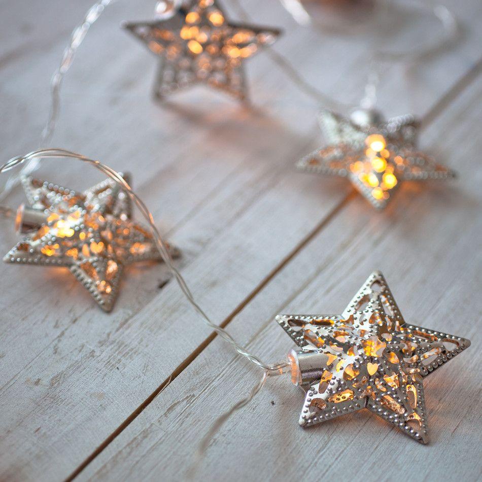 Warm White LED Filigree Silver Star Battery Fairy Lights - Star fairy lights for bedroom