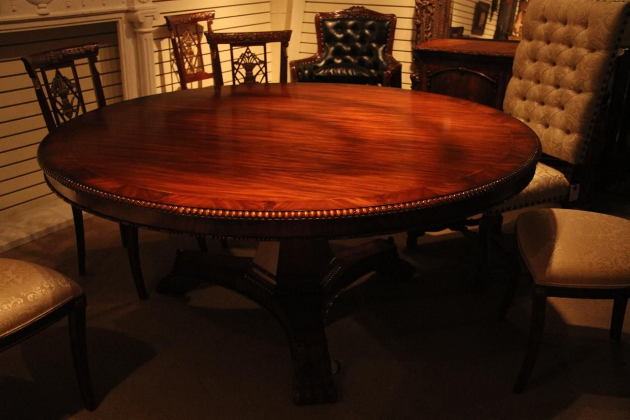 72 Inch Round Mahogany Pedestal Table. Empire Or Regency Style Round Dining  Table For Sitting