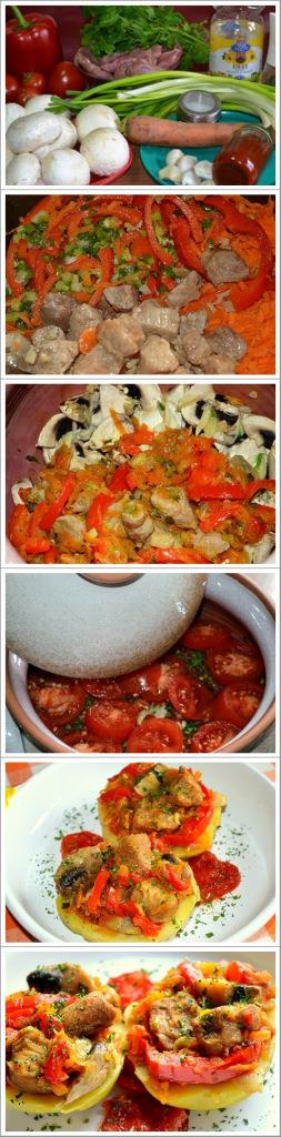 Pork stew in clay pot (in oven)     Ingredients : 2 large onions, finely chopped 1 sweet red peppers, cut pieces 500 g pork, cut into pieces 1 carrot, grated 500 g fresh mushrooms, sliced 6 cloves of garlic, sliced 100 ml tomato paste or red pepper, prepared in house or mashed tomato 1 bunch parsley, finely chopped / 1 tablespoon dried parsley […]  Continue reading...    The post  Pork stew in clay pot (in oven)  appeared first on  Olive Oil & Gum Drops .    http://oliveoilandgumd..