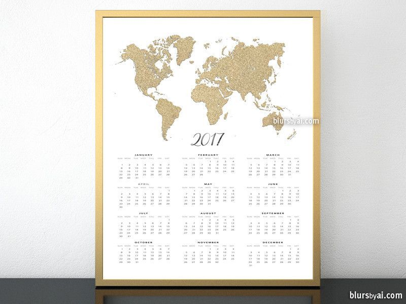 2017 calendar print featuring the world map in gold glitter 16x20 2017 calendar print featuring the world map in gold glitter 16x20 more gumiabroncs Gallery