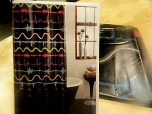 new-BLACK-PEVA-vinyl-SHOWER-CURTAIN-colorful-Red-Blue-Green-PULSE-Wavy-Lines