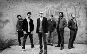 Preview wallpaper linkin park, band, members, look, wall 3840x2400