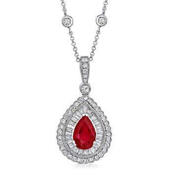 Angara Ruby Teardrop Pendant with Diamond ZFNVl