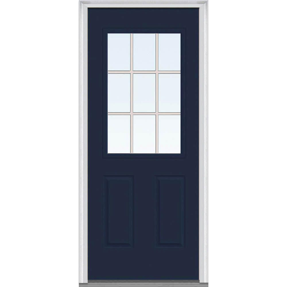 Milliken Millwork 36 In X 80 In Classic Clear Glass Gbg 1 2 Lite Painted Fiberglass Smooth Prehung Front Door Naval Steel Doors Exterior Front Door Mmi Door