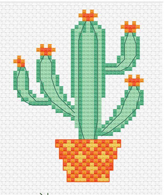 Modern Cross Stitch – Sweet Little Cactus Cross Stitch Pattern by Tiny Modernist