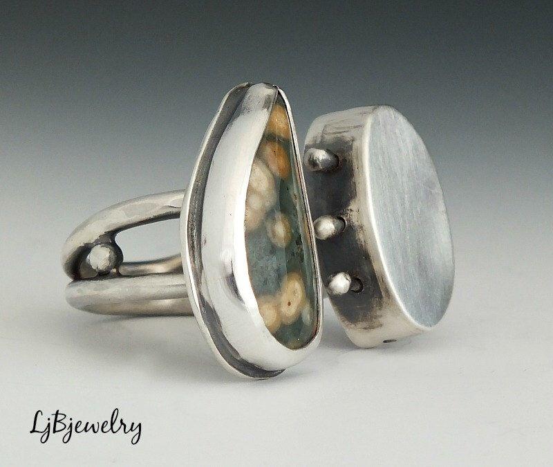 Anillo de plata, anillo de jaspe, jaspe océano, anillo, plata esterlina, joyería de Metalsmith, hecho a mano, tamaño 7 de LjBjewelry en Etsy https://www.etsy.com/es/listing/236957465/anillo-de-plata-anillo-de-jaspe-jaspe