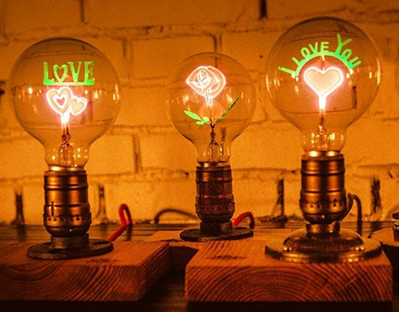 One Of A Kind Creative LED Edison Bulb With Four Different Designs. Love,  Love You, Sunflower, And Rose These Light Bulbs Are Designed For Night  Light It ...
