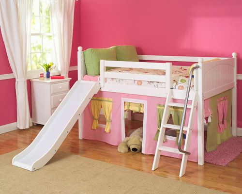 Image Detail For Playhouse Low Loft Bed W Slide By Maxtrix Kids Pink Yellow Green On