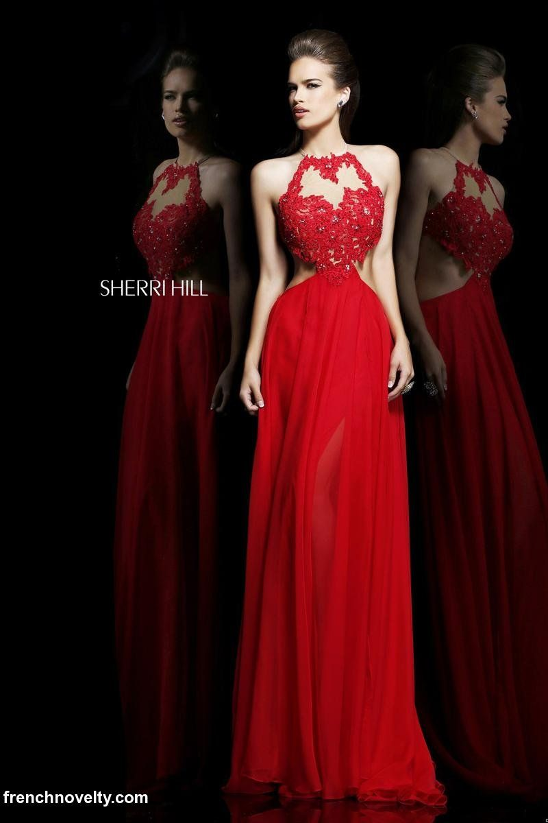 Sherri hill sheer lace cut out prom dress evening dresses