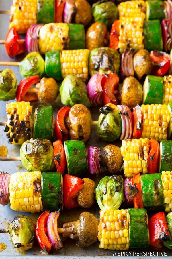 Grilled Vegetable Kabobs with Fajita Butter #vegetariangrilling