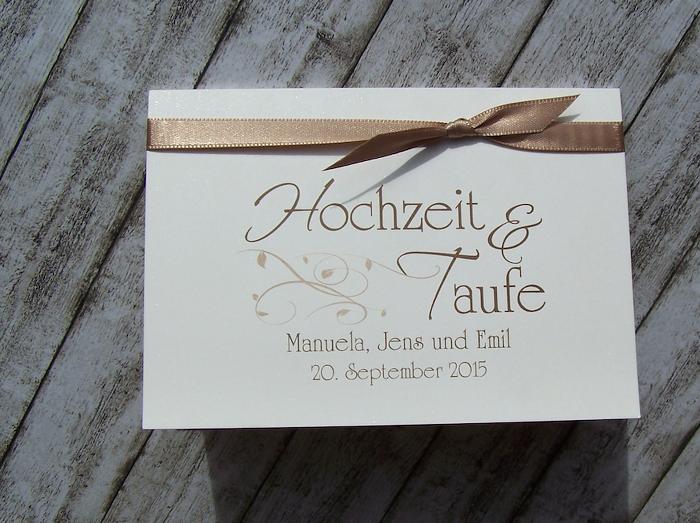 Einladung Hochzeit Und Taufe KlappKarte 3fach   Nougat  Www.kartenmanufaktur Arndt.de