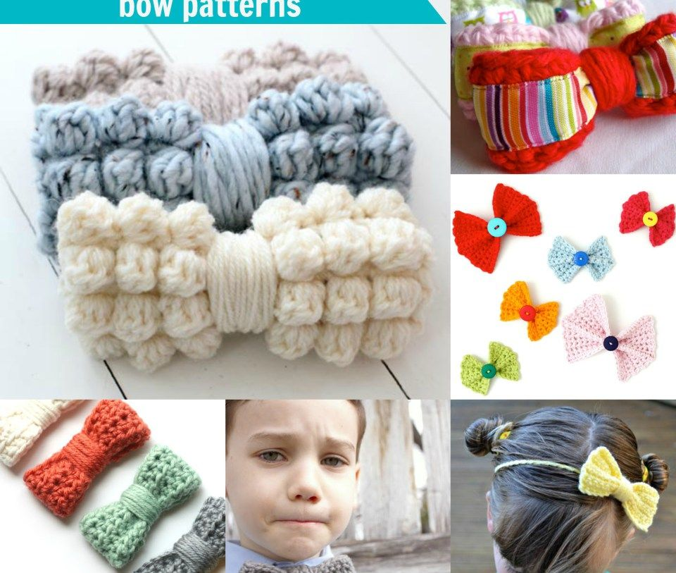 25+free and easy crochet bow patterns | Maria | Pinterest