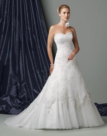 Organza Softly Curved Neckline Low Dipped Back Bodice A-line Wedding Dress
