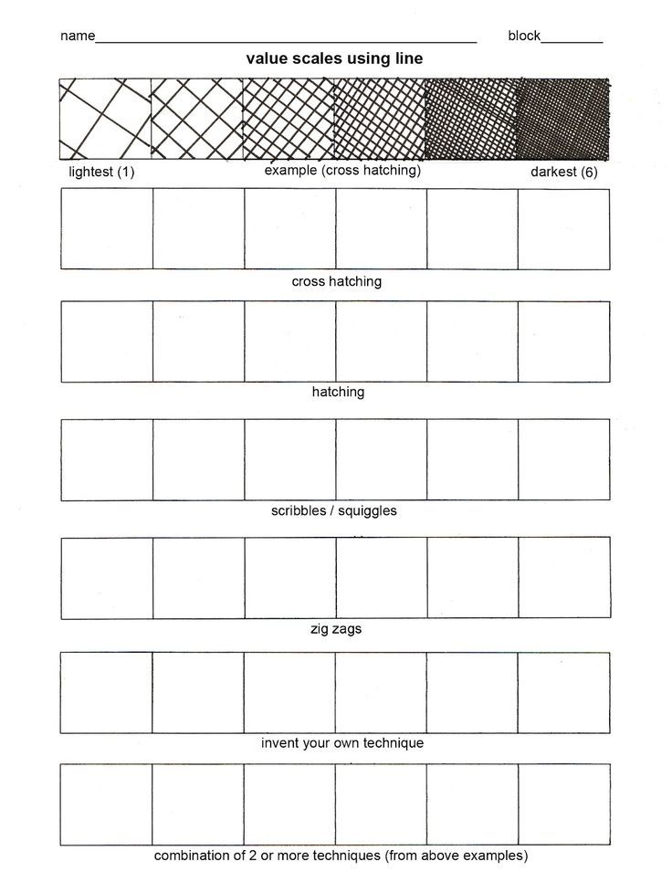 Intro 2D value worksheetjpg Art teacher Pinterest Cross - digital graph paper