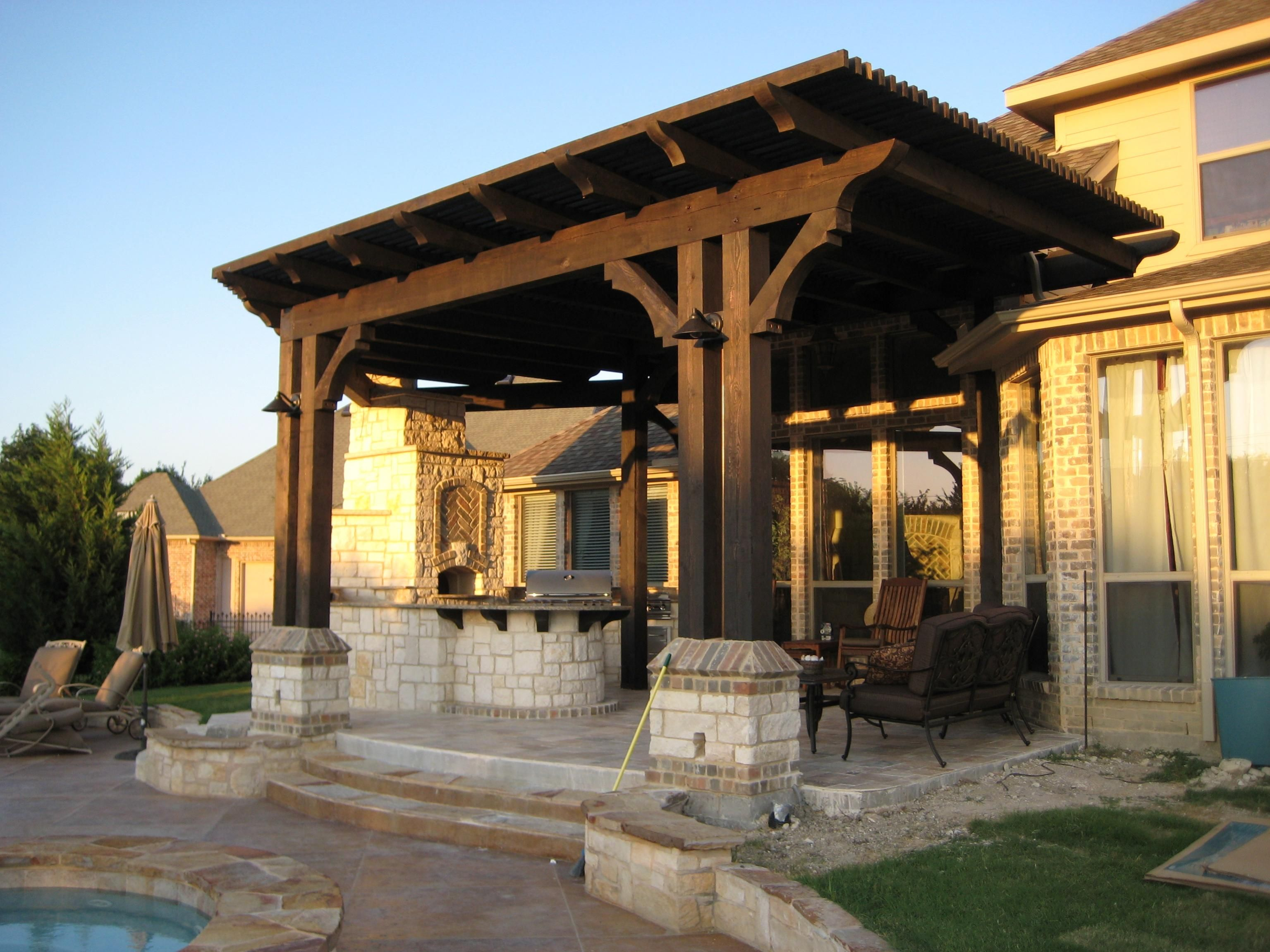 Pergola outdoor kitchen attached to house pergola design for Patio construction ideas