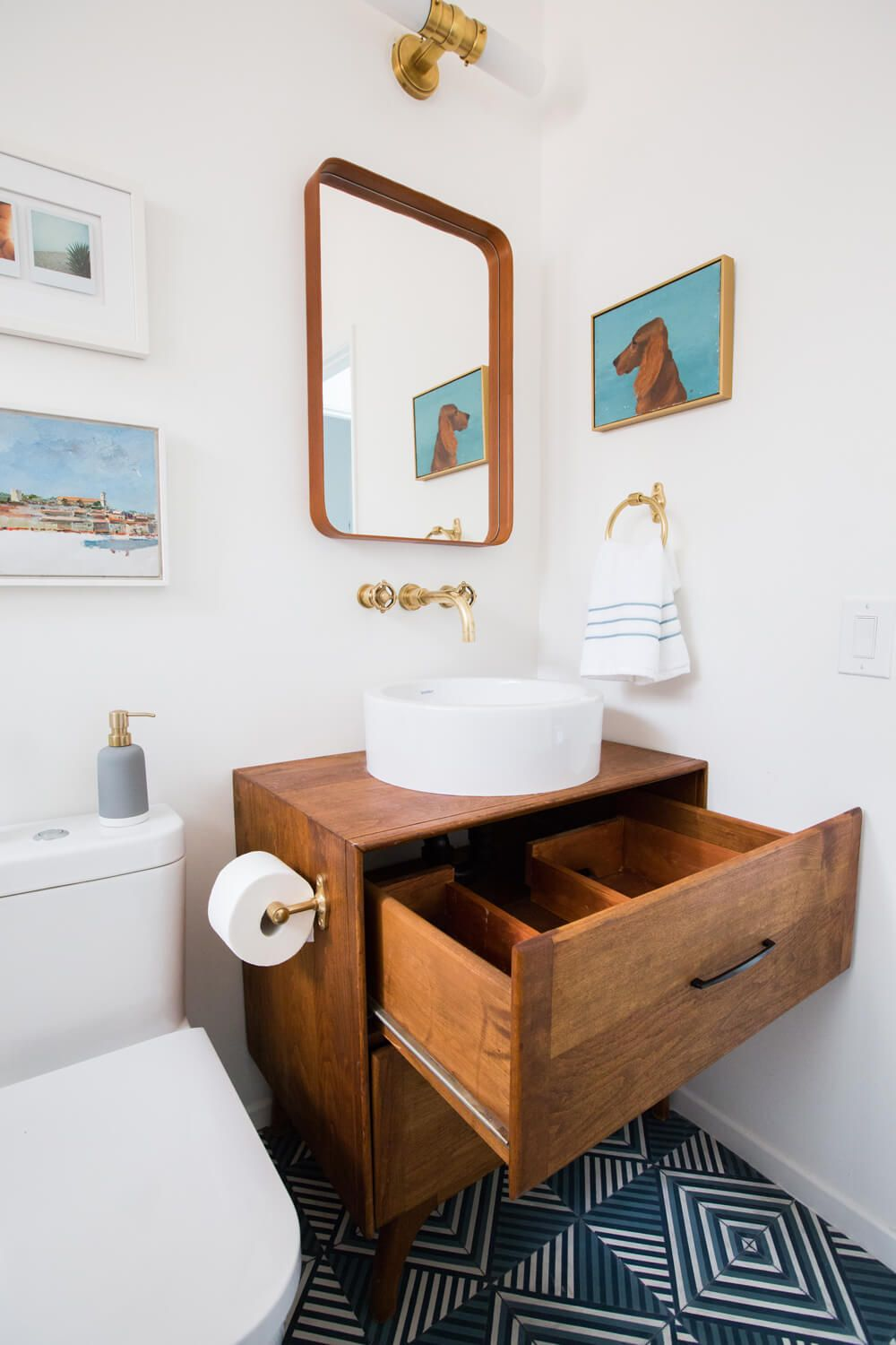 mid century bathroom vanity Guest Bathroom Reveal + Shop The Look | live // | Pinterest  mid century bathroom vanity