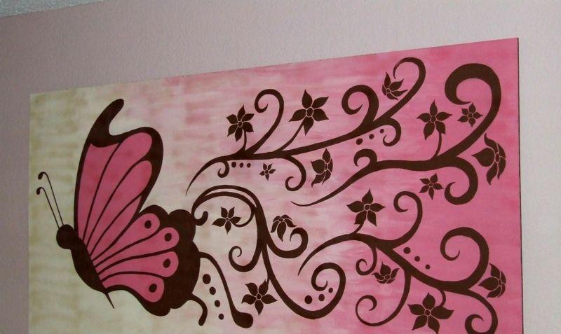 leinwand malen romantisch schmetterling blumen rosa