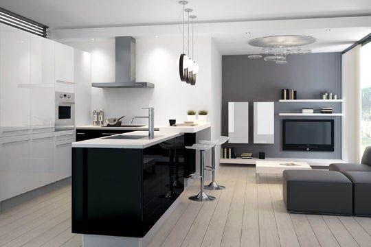 Aménager une cuisine ouverte sur le salon  Astuces et conseils - cuisine ouverte sur salon m