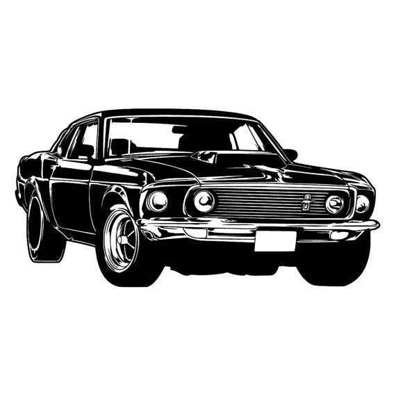 Ford Mustang Shelby Retro Sport Car Wall Art Decal Vinyl Sticker Retro Cars Mustang Decor Car