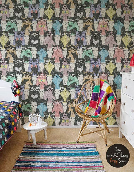 Colorful Hipster Cats Pattern Funky Wallpaper For Kids Room Etsy Funky Wallpaper Kids Room Wallpaper Hipster Cat