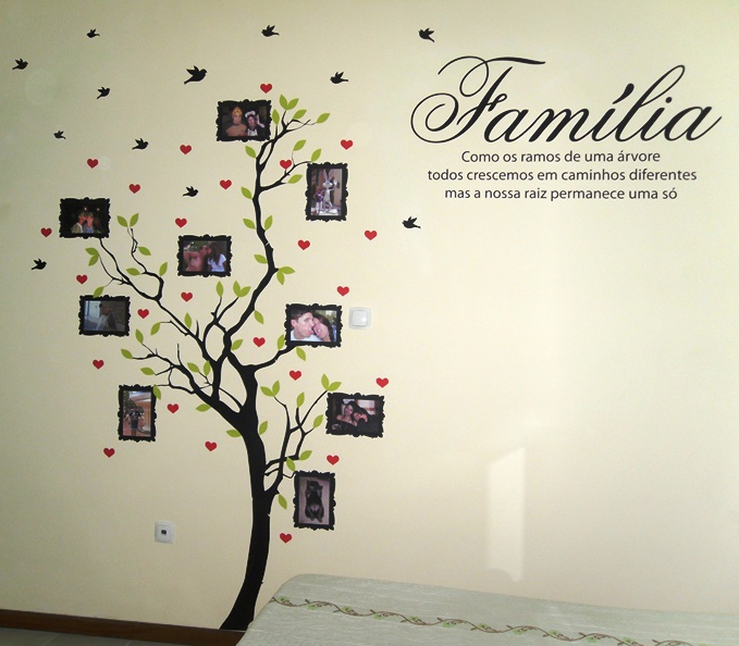 Family Tree With Photo Frames Wall Sticker With Quote In Portuguese