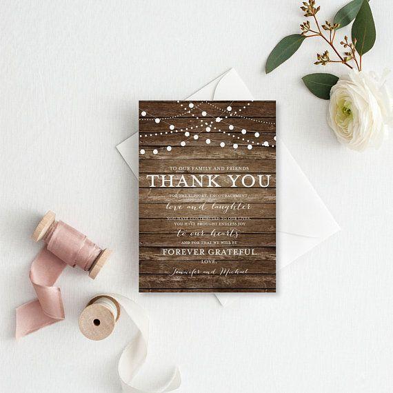 Thank You Note Card Template, DIY Wedding Thank You, Wedding Thank