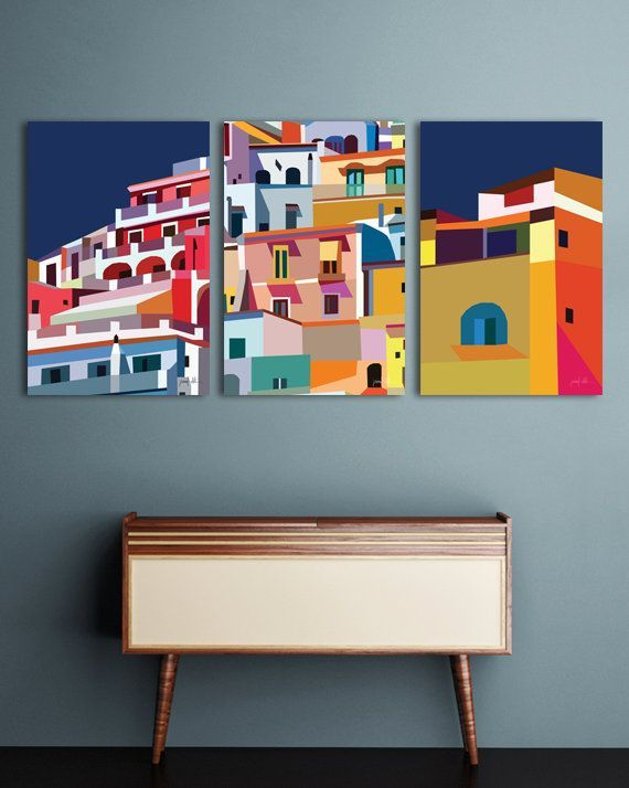 Modern Printable Wall Art Colorful Print Architecture Art Positano Italy Print Wall Art Large Abstract Paint En 2020 Art Mural Imprimable Art Mural Art Abstrait Colore
