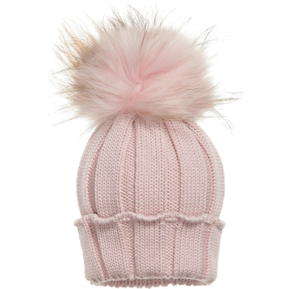 497d6520b38550 CATYA Pink Merino Wool Hat with Fur Pom-Pom | BabyClothes ♡ | Hats ...