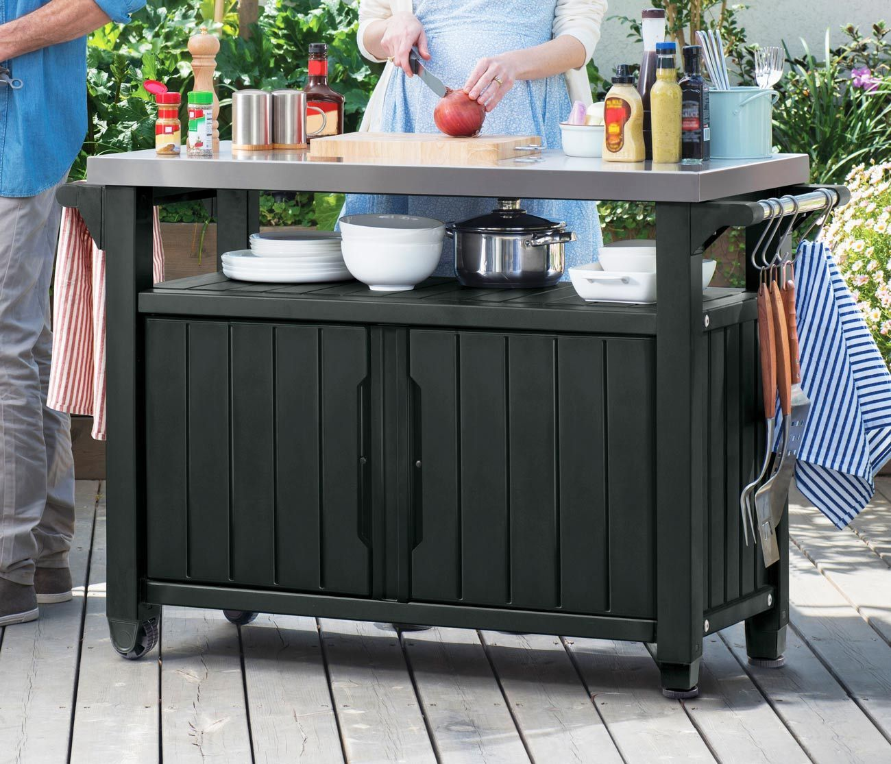 Keter Unity Bbq Storage Work Table Bbq Table Outdoor Buffet Grill Table