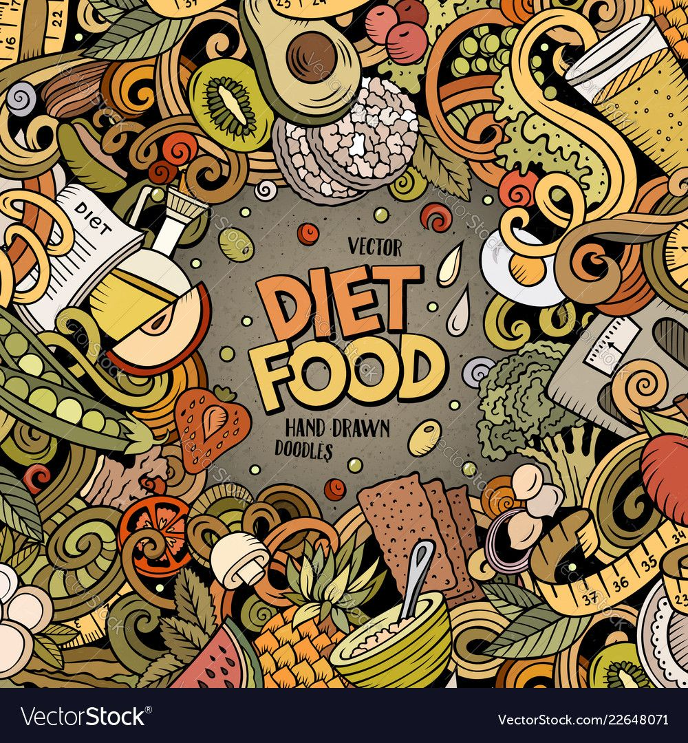 Cartoon doodles diet food frame bright Royalty Free Vector