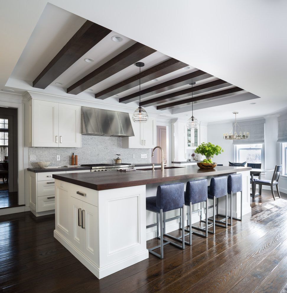 Coffered kitchen ceilings kitchen transitional with dark for Decorative beams in kitchen