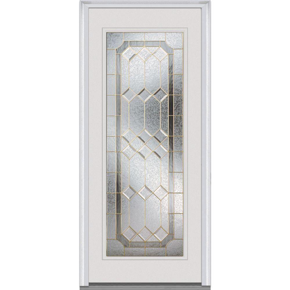 MMI Door 34 In. X 80 In. Majestic Elegance Right Hand Full Lite Classic  Primed Fiberglass Smooth Prehung Front Door