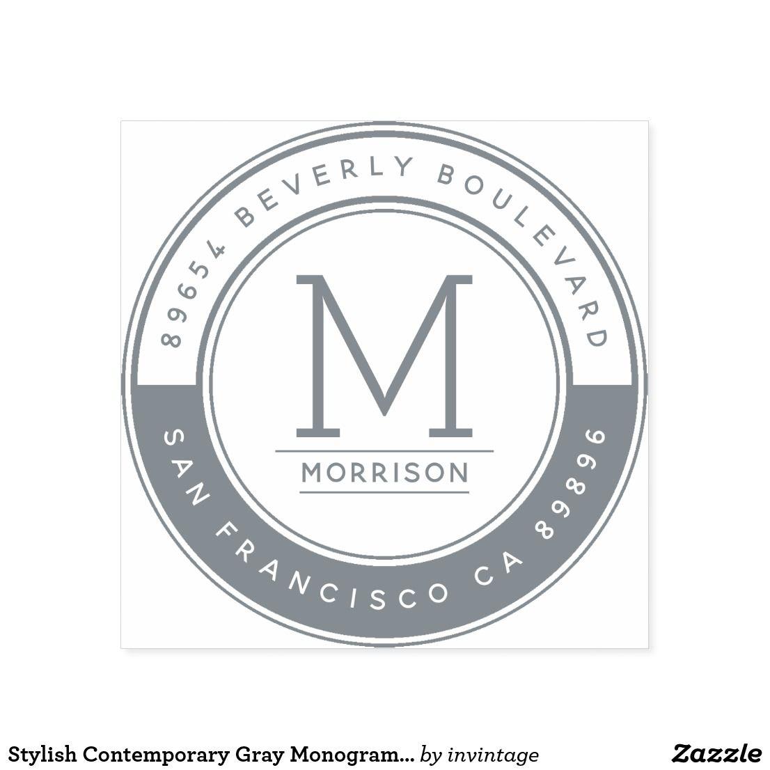 Monogram Stamp Custom Logo Round Return Address Custom Self Ink Stamp